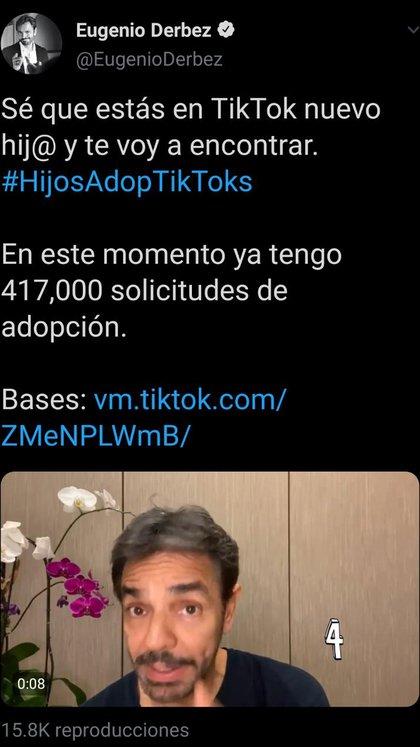"""""""Este mes voy a dormir muy poco porque voy a tener que ver, literal, los cientos de miles de vídeos que me están mandando"""", afirmó el productor mexicano luego de lanzar una campaña de adopción de tiktokers (Foto: Twitter/@EugenioDerbez)"""