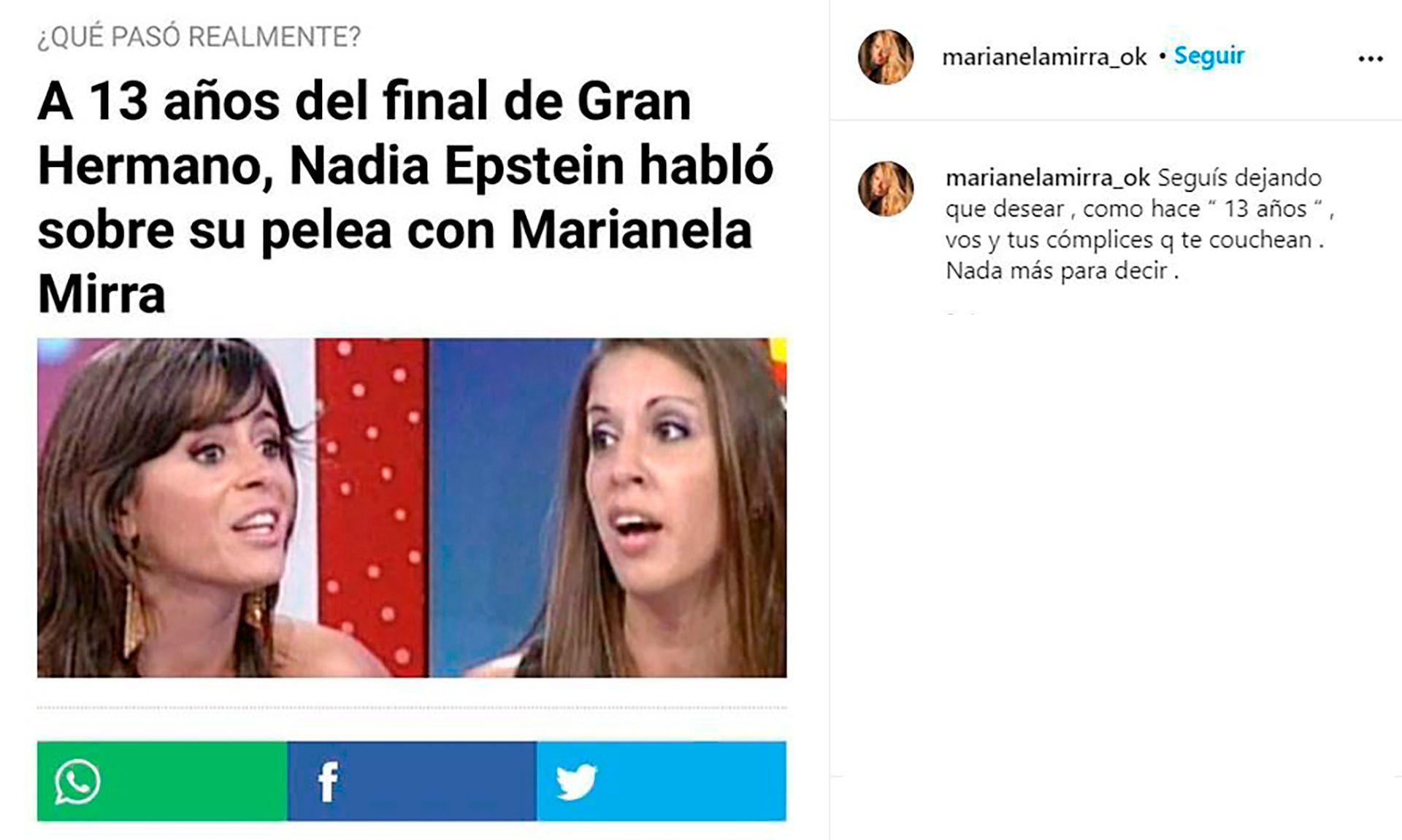 Marianela Mirra le contestó a Nadia Epstein