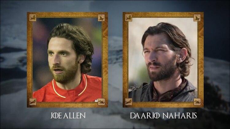 Joe Allen (futbolista galés del Stoke City) con Daario Naharis