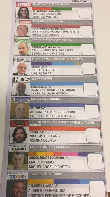 La boleta de pale que se usó en las cárceles en las últimas elecciones presidenciales