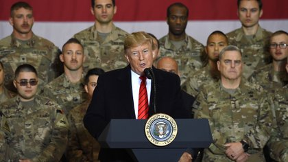 Donald Trump en Afganistán. (Photo by Olivier Douliery / AFP)