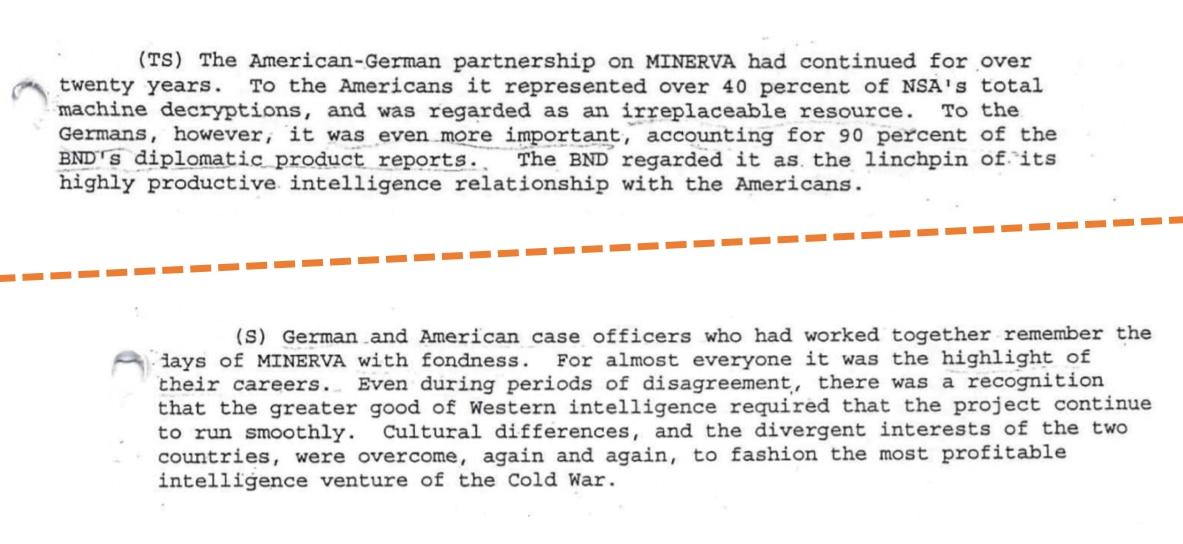 Otros tramos de los documentos de la CIA que hablan sobre Minerva, nombre en clave de Crypto. (The Washington Post)