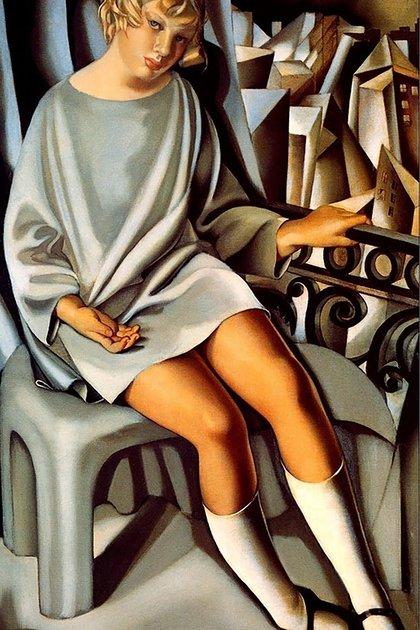 """""""Kizette en el balcón"""" (1927), de Tamara de Lempicka. Oleo sobre lienzo (130 x 80,8 cm), en el Centre Georges Pompidou, París"""