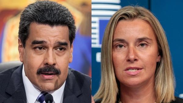 Nicolás Maduro y Federica Mogherini
