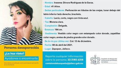 Una de las víctimas privadas de su libertad fue identificada como Irasema Dinora Rodríguez de la Garza, abogada, de 41 años de edad (Foto: Twitter/@COBUPEM)