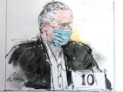 Imagen de un artista de la Corte de Estados Unidos de la primera audiencia del general Salvador Cienfuegos Zepeda, en donde se le dieron a conocer los cargos de los que se le acusa. (Bill Robles vía AP).