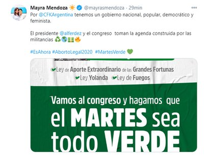 El tuit de Mayra Mendoza con la convocatoria de La Cámpora a la 'ola verde'