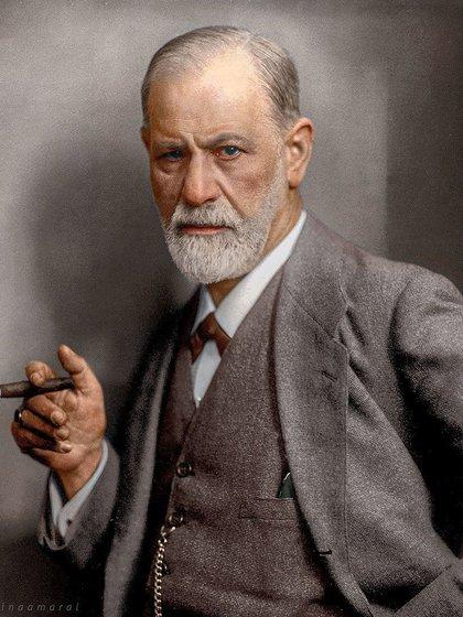 Sigmund Freud en una foto coloreada posteriormente