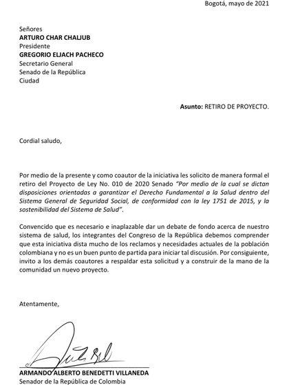 Carta de Armando Benedetti dirigida al Congreso de la República pidiendo el retiro de la reforma de salid. Twitter @AABenedetti