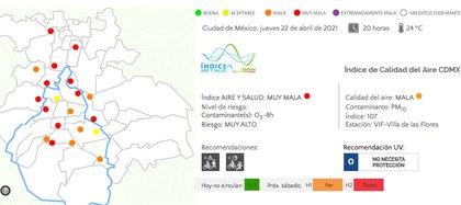 Calidad del aire en la Zona Metropolitana del Valle de México a las 20:00 horas del 22 de marzo (Foto: captura de pantalla / CAMe)