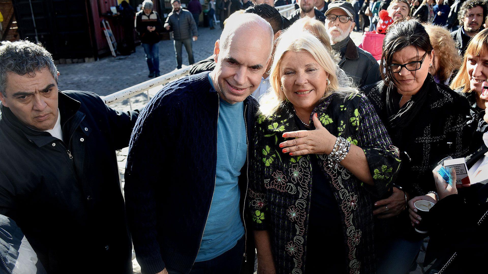 Horacio Rodríguez Larreta y Elisa Carrió en la campaña de 2019 (Nicolás Stulberg)