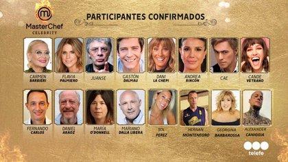 La grilla de participantes de Masterchef Celebrity 2. A último momento, se sumó Claudia Fontán