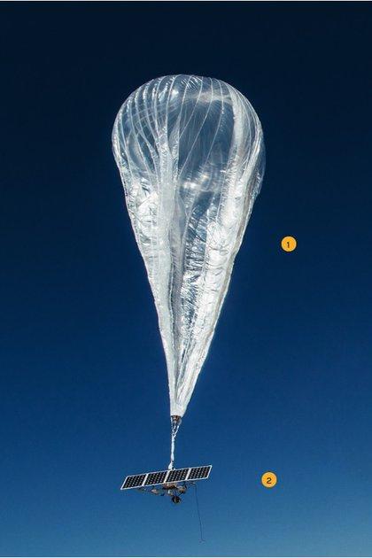 Los globos son de polietileno y están diseñados para soportar los vientos de más de 100 kilómetros por hora y temperaturas que pueden llegar a los -90 grados en la estratófera.
