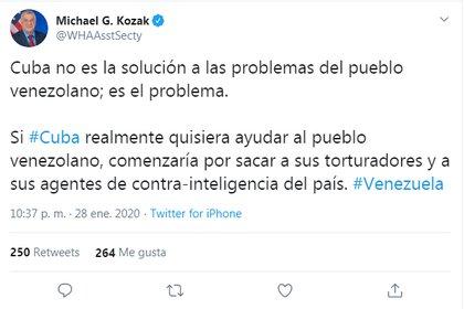 El mensaje de Kozak sobre la posibilidad de que Cuba participe en la solución a la crisis venezolana