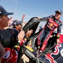 Rallying - Dakar Rally - Stage 12 - Haradh to Qiddiya- Haradh, Saudi Arabia - January 17, 2020 Bahrain JCW X-Raid Team's Carlos Sainz celebrates after winning the Dakar Rally REUTERS/Hamad I Mohammed