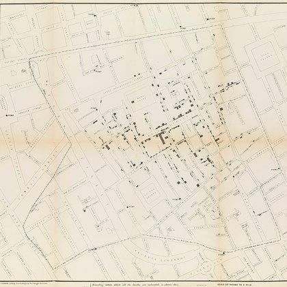 Mapa extraido del reporte del doctor John Snow (Wikimedia Commons)