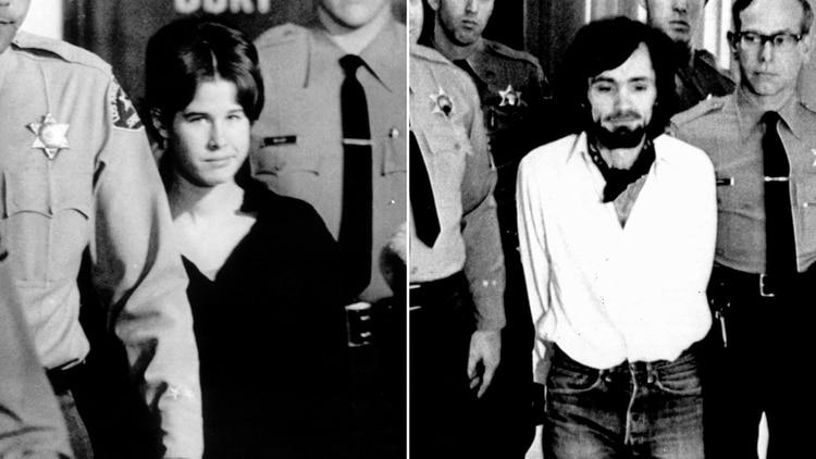 La imagen de Dianne Lake, poco antes de testificar ante el Gran Jurado de Estados Unidos. A la derecha, la imagen de Manson, en una de sus presencias ante la Corte