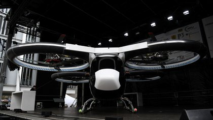 "A prototype of the electric air-taxi ""CityAirbus"" stands on a stage in Ingolstadt, Germany, March 11, 2019. REUTERS/Andreas Gebert"