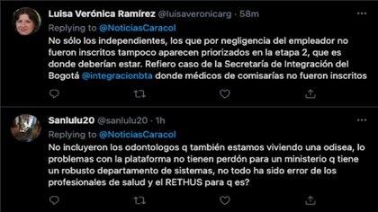 Médicos dependientes y odontólogos tampoco habría sido tenidos en cuenta en la vacunación para profesionales de la salud de Colombia / (Twitter: @NoticiasCaracol).