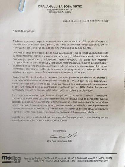 Diagnóstico del ex embajador, Ricardo Valero (Foto: Especial)