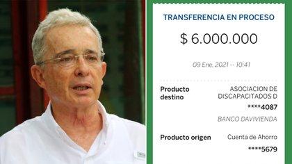 Álvaro Uribe alardea de los donativos de sus congresistas. Collage: Infobae.