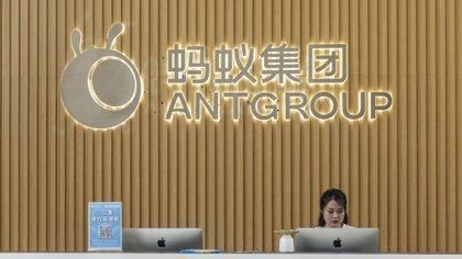 Una de la entradas de la oficina central de Ant Group, en China (Qilai Shen/Bloomberg)