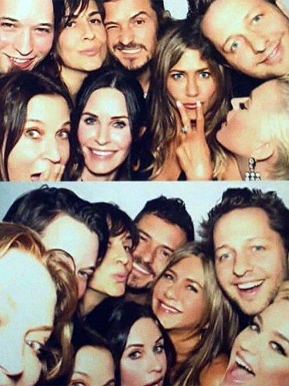 Jennifer Aniston con Orlando Bloom, Katy Perry y Courteney Cox