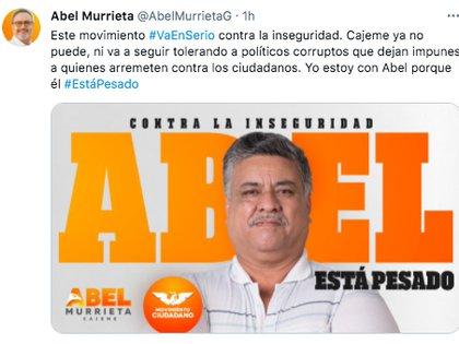 Antes del ataque, el candidato naranja había asegurado que acabaría con la inseguridad de Cajeme, Sonora (Foto: Twitter/@AbelMurrietaG)