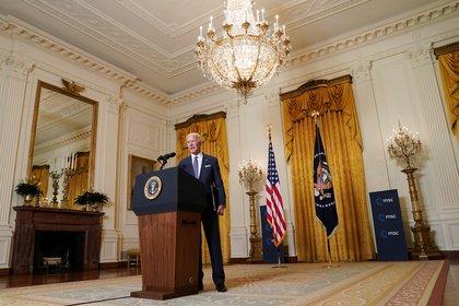 El presidente Joe Biden se retiró del Ala Este de la Casa Blanca luego de su participación en la Conferencia de Seguridad de Múnich (REUTERS/Kevin Lamarque)