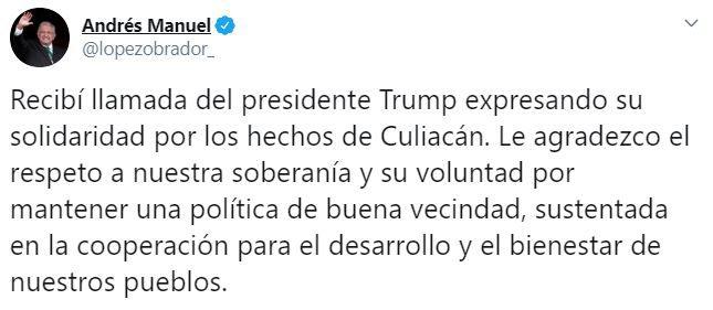 El tuit de López Obrador tras los hechos en Culiacán, Sinaloa  (Foto: Twitter/lopezobrador_)