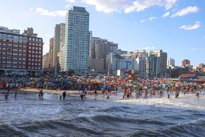 Las playas de Mar del Plata durante el último fin de semana (Foto: Christian Heit)