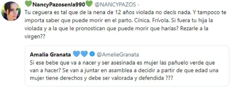 La respuesta de Nancy Pazos a Amalia Granata