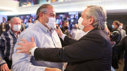 Héctor Daer y Alberto Fernández, el 17 de octubre en la CGT
