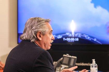 El presidente Alberto Fernández siguió en vivo el lanzamiento del Saocom desde la residencia de Olivos (Presidencia)