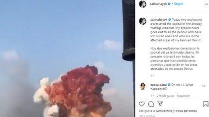 La actriz compartió un video que muestra la explosión ocurrida esta mañana en El Líbano (Foto: Instagram @salmahayek)