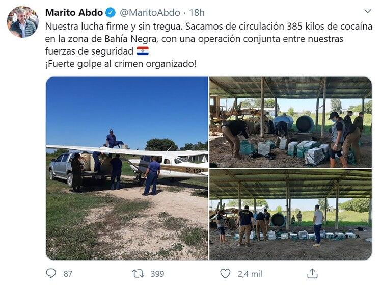 El tuit de Mario Abdo
