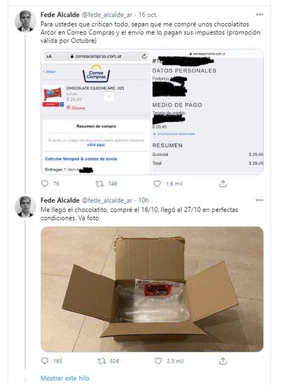 Un cliente de Correo Compras publicó el chocolate que recibió en una caja prácticamente vacía