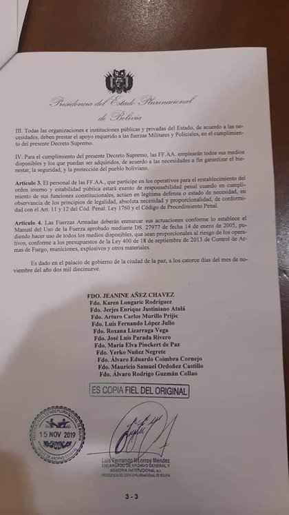 Decree of actions of the Armed Forces in Bolivia viralized on social networks