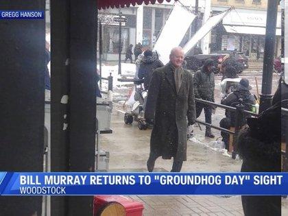 """La imagen difundida por Bill Murray: vuelve a ser el reportero del clima de la película """"El día de la marmota""""."""