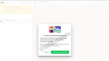El usuario recibiría una notificación donde se le avisa que será redirigido a Messenger Rooms donde hay cifrado pero no de extremo a extremo.