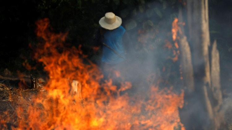 Un hombre trabaja en una zona en llamas de la selva amazónica mientras es despejada por leñadores y agricultores en Iranduba, estado de Amazonas, Brasil, el 20 de agosto de 2019.(Reuters)