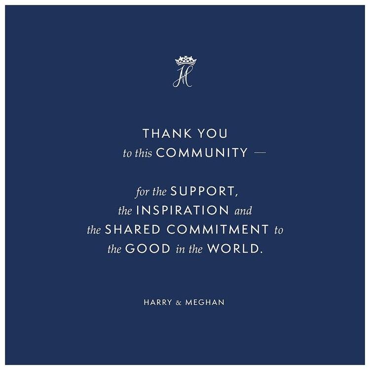 Meghan Markl y el príncipe Harry compartieron lo que será la última publicación en su página de Instagram @SussexRoyal, un día antes de que renunciar oficialmente a sus roles como miembros principales de la familia real británica