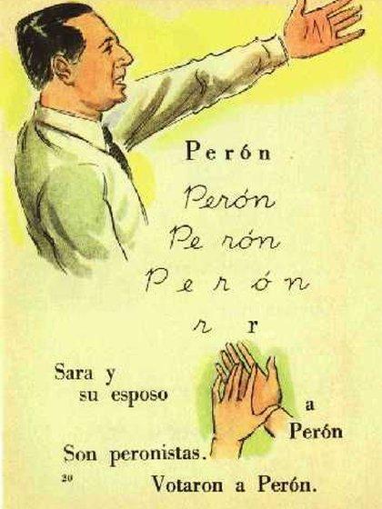 Un libro escolar de la época de Perón