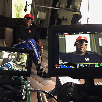 Rodman durante la grabación del documental The Last Dance (IG: @mandalaysportsmedia)