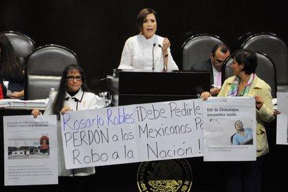 Octubre 2018. Rosario Robles, entonces titular de SEDATU, compareció en la Cámara de Diputados. Fue cuestionada por el desvío de recursos que hizo a empresas fantasma cuando estaba en SEDESOL (Foto: Cuartoscuro)