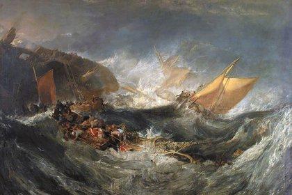 """""""El hundimiento del HMS Minotaur"""" (1793) de Turner"""