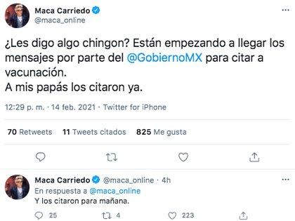 La periodista Maca Carriedo dio a conocer que sus padres fueron citados para recibir la vacuna contra COVID-19 (Foto: Twitter)