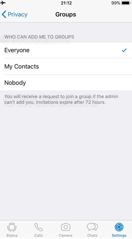El usuario deberá elegir quién puede agregarlo a los grupos entre: todos, mis contactos o nadie (Foto: especial)
