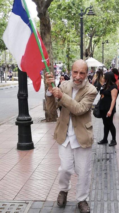 Zurita durante las manifestaciones del año paso en Santiago