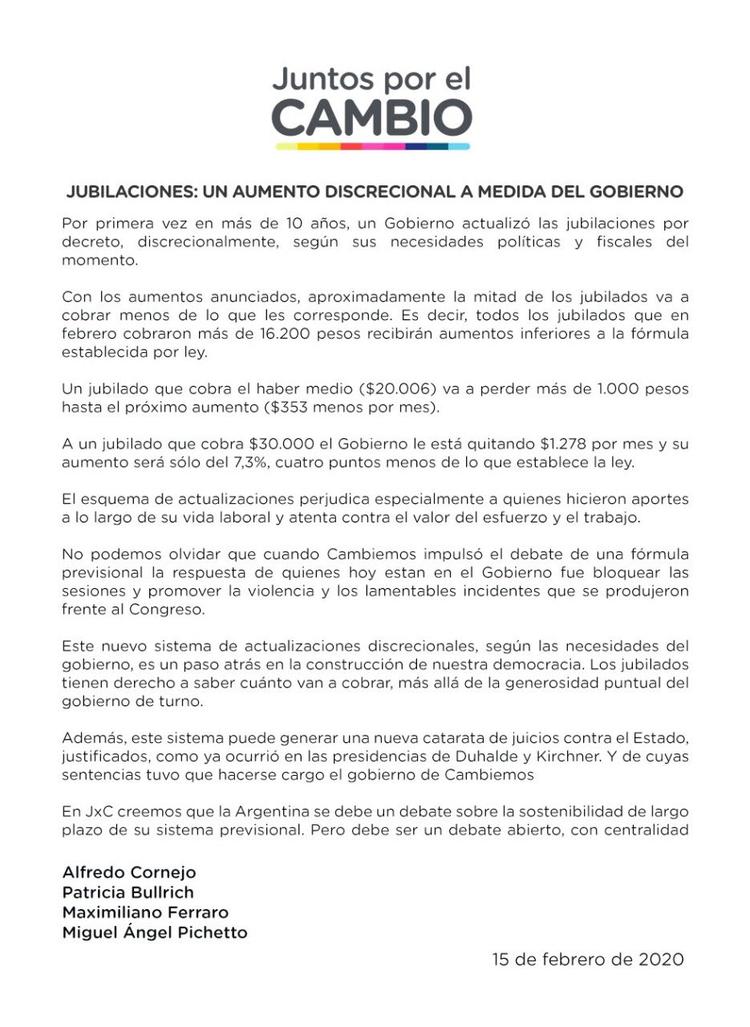 El comunicado de JxC.